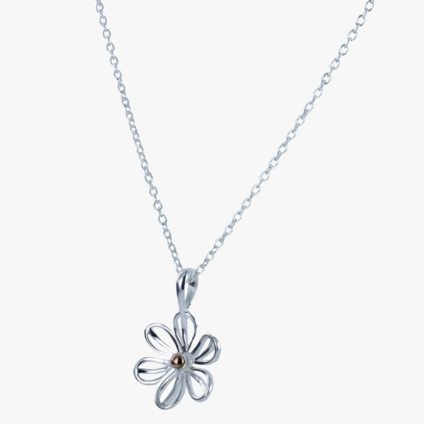 Sterling silver daisy pendant with 18ct rose gold vermeil centre hanging on a silver chain