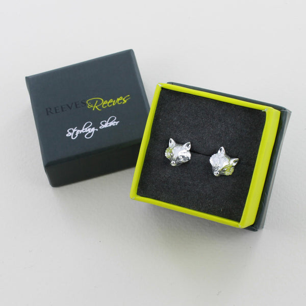 Reeves & Reeves Fox Mask Stud Earrings