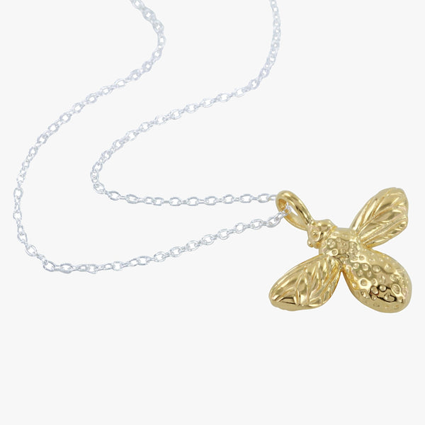 Sterling silver bee charm with 18ct yellow gold vermeil finish on a silver chain