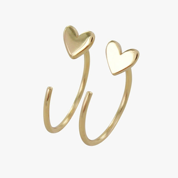 Crescent Heart Hoop Earrings