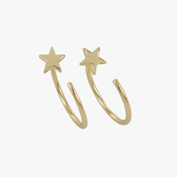 Crescent Star Hoop Earring