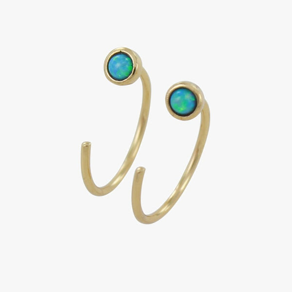 Crescent Blue Opal Hoop Earring