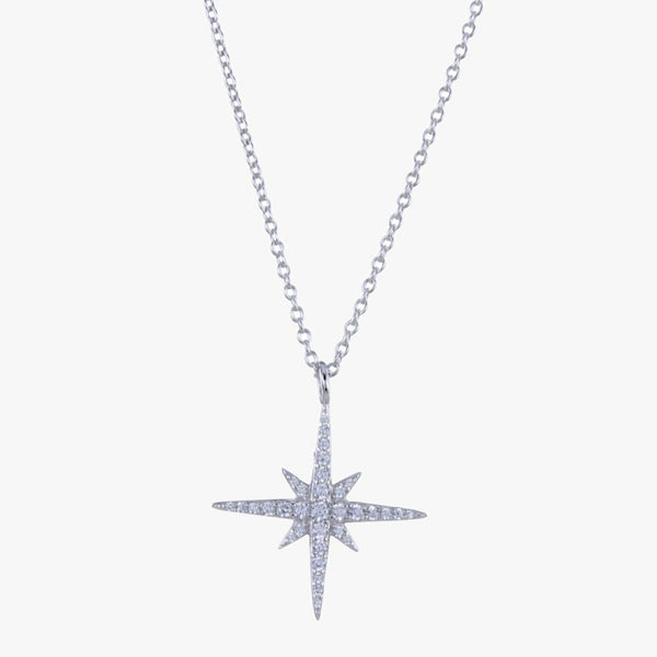 Sterling silver neckace with a star pendant embedded with cubic zirconia stones