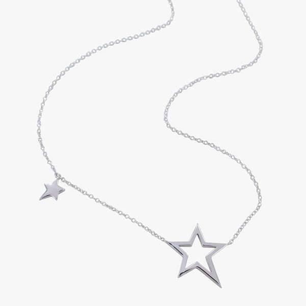 Sterling Silver Necklace with 2 stars along the chain