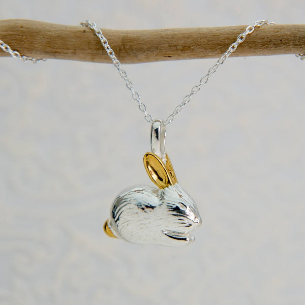 Sterling silver benjamin bunny necklace with 18ct yellow gold vermeil ears and tail detail on a silver chain