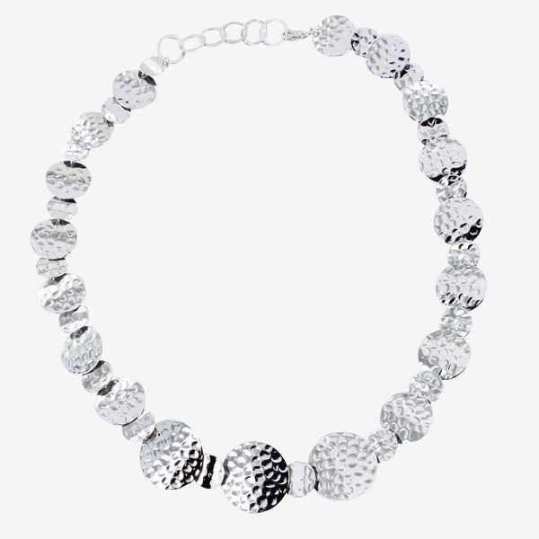 Sterling silver with rhodium plating 'coins' necklace - hammered discs ajoined in various sizes