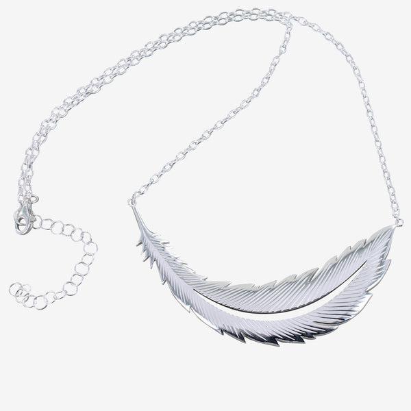 Sterling silver large feather necklace on a silver chain