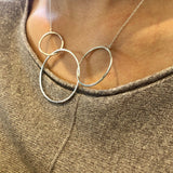 3 Halo Necklace Sterling Silver
