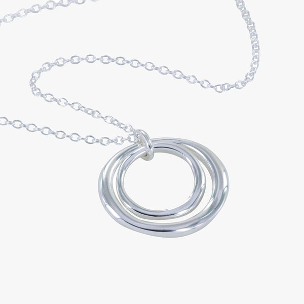Two Ring Necklace Silver