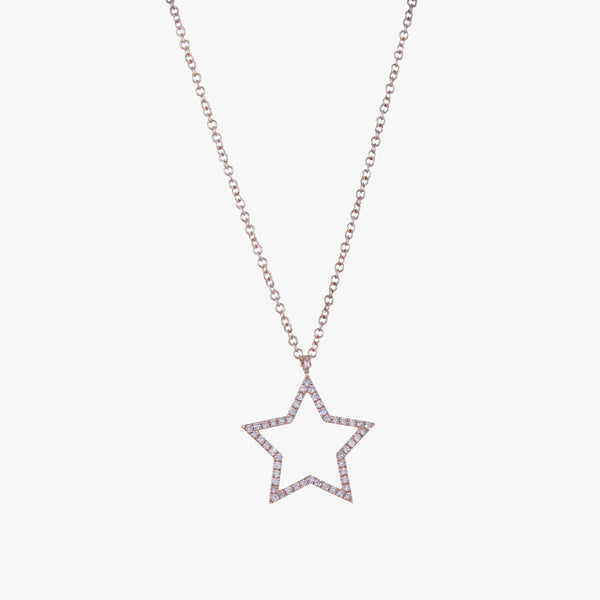 Rose Gold and Diamond Star Necklace