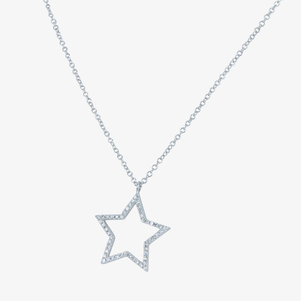 White Gold and Diamond Star Necklace