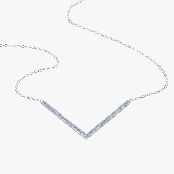 Sterling silver triangle necklace on a silver chain, with cubic zirconia stones