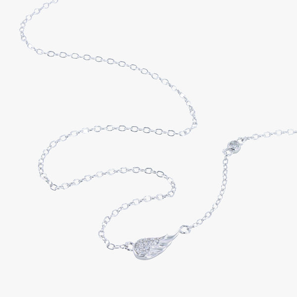 Sterling silver pavé angel wing necklace