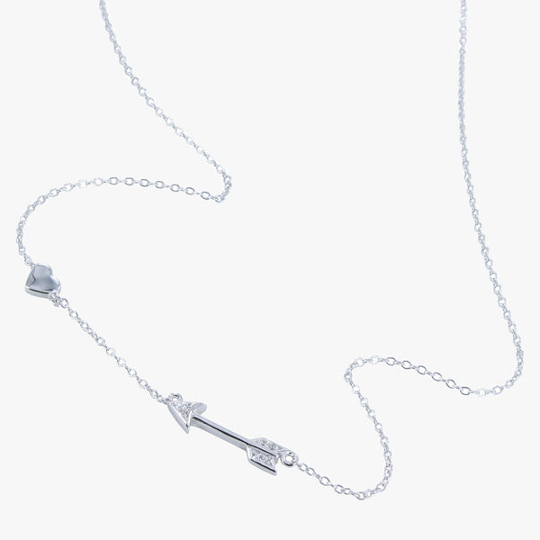 Sterling silver shooting arrow necklace with cubic zirconia stones