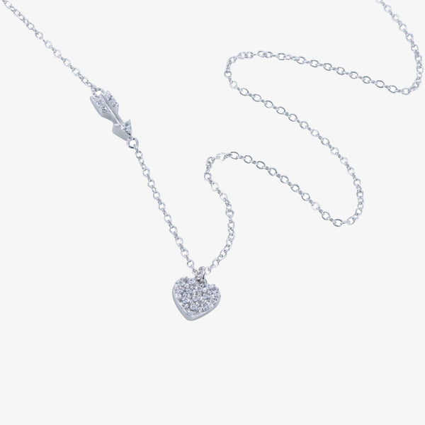 Pavé Heart and Arrow Necklace