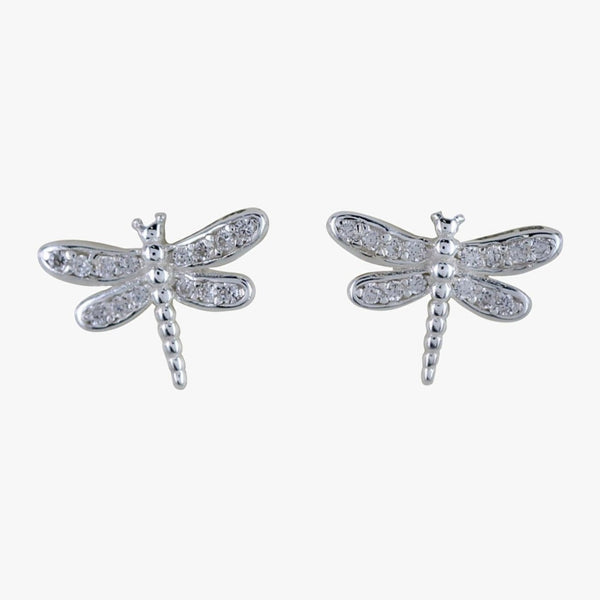 Dragonfly Stud Earrings with Pavé