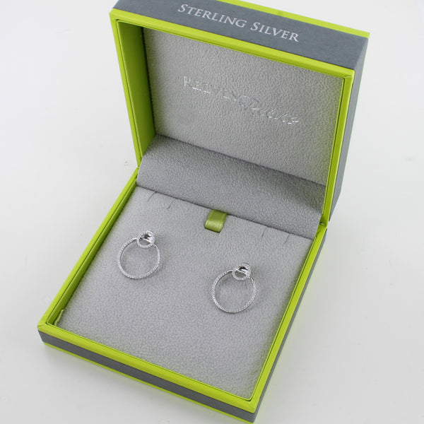 Two Ring Sterling Silver Pavé Earrings