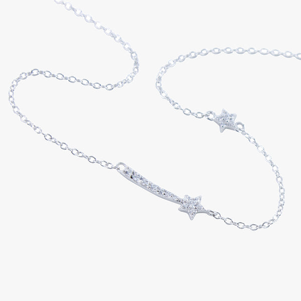 Sterling silver shooting star necklace with cubic zirconia stones
