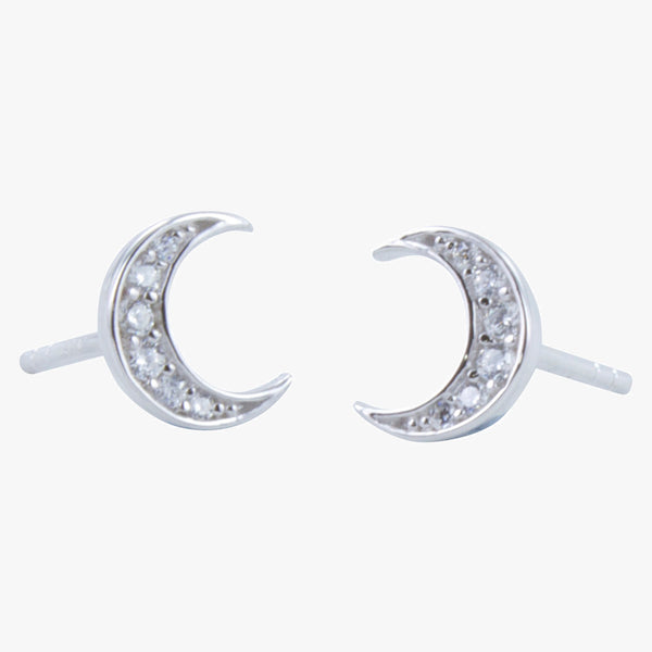 Moon Pavé Stud Earrings