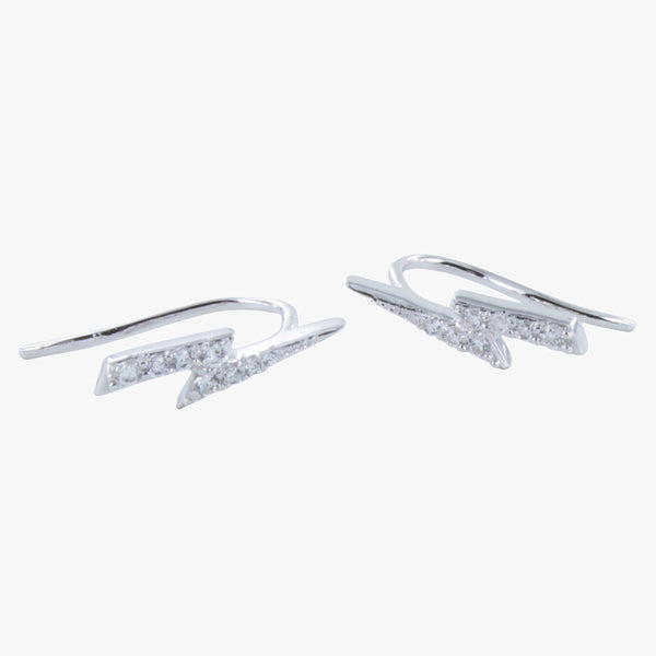 Pavé Lightning Bolt Hook Earrings