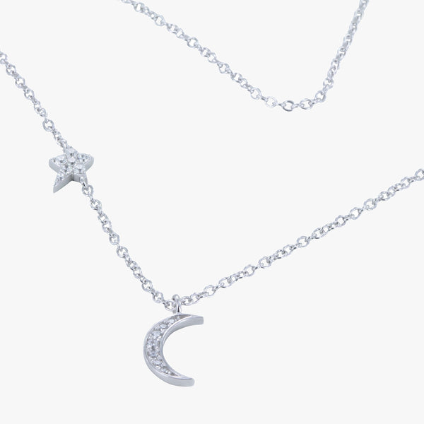 Sterling silver chain necklace with moon and star charm with cubic zirconia stones