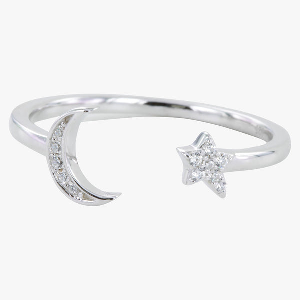 Moon and Star Pavé Ring
