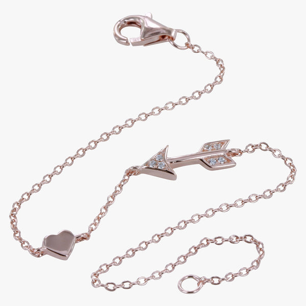 Arrow and Heart Pave Bracelet