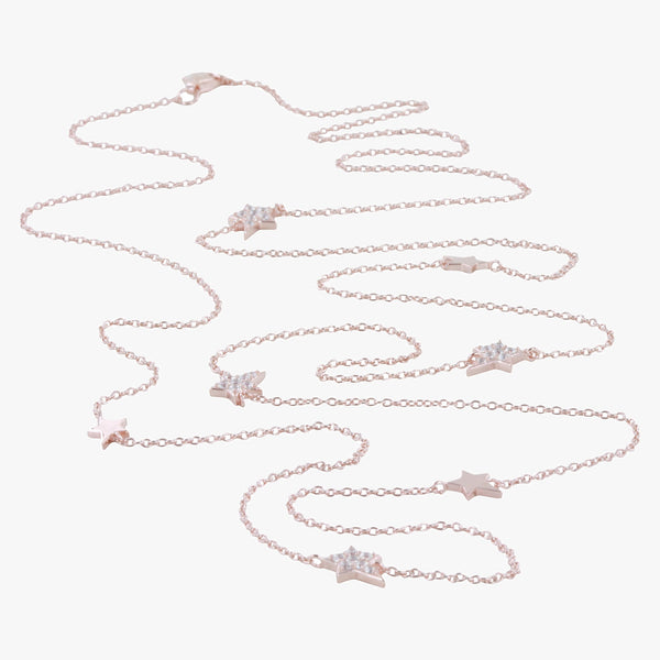 Sterling silver long necklace in an 18ct rose gold vermeil finish. Stars dotted along the chain embedded with cubic zirconia stones