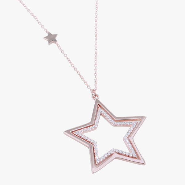Sterling silver star pendant with silhouette star inside embedded with cubic zirconia stones