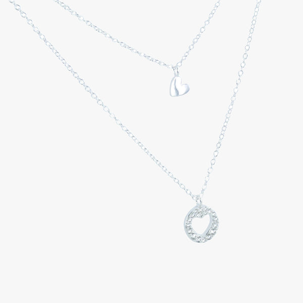 Sterling silver double layer necklace with heart charm and disc with cubic zirconia stones