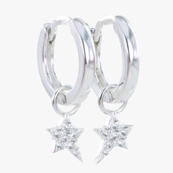 Starry Night Pavé Hoop Earrings