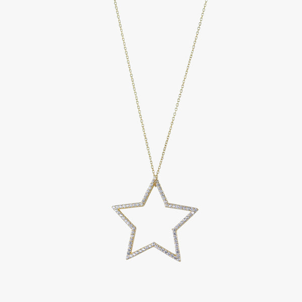 Sterling silver silhouette star pendant on a chain with cubic zirconia stones