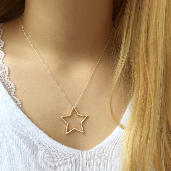 Silhouette Star Pavé Necklace