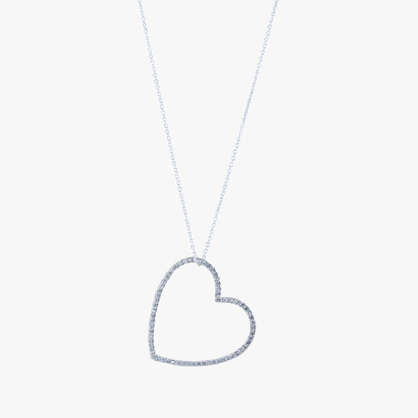 Sterling silver silhouette heart necklace with cubic zirconia stones