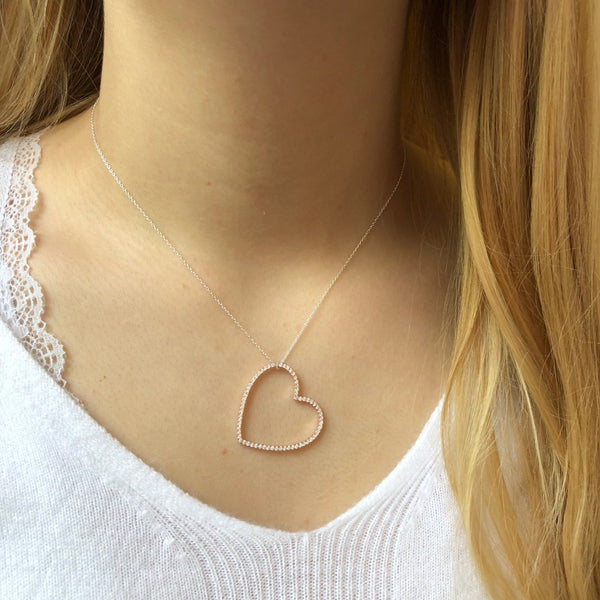 Silhouette Heart Pavé Necklace