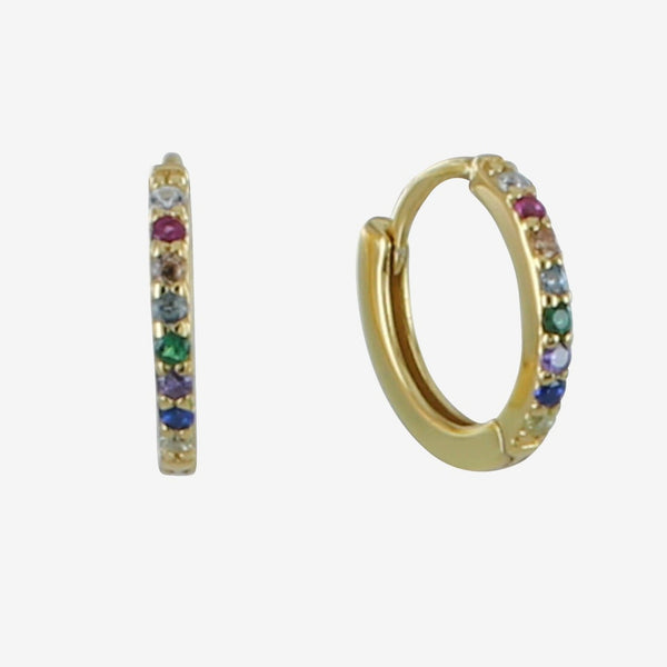 Multi Coloured Stone Pavé Sleeper Earrings