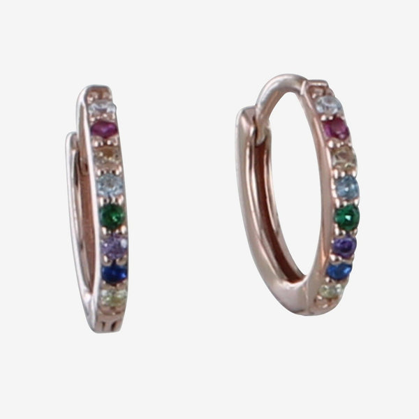 Sterling Silver Multi Stone Pavé Sleeper Earrings