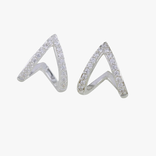 Sterling Silver Heart Huggie and Pavé Earrings