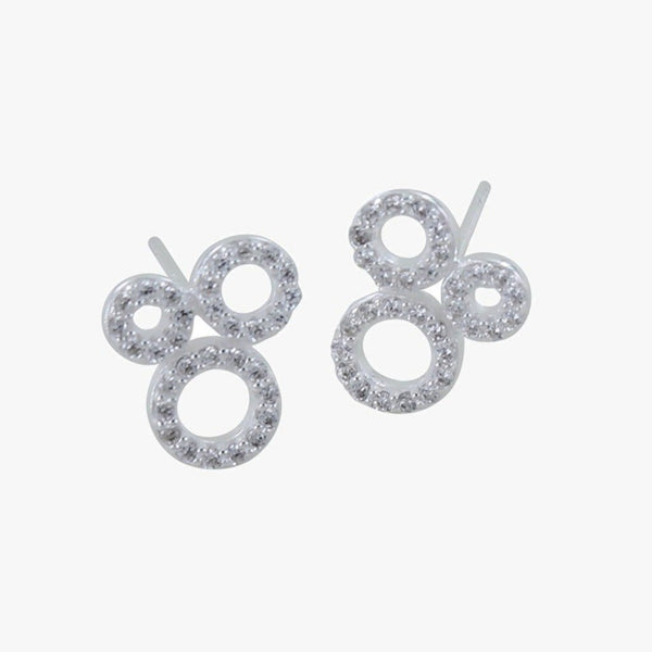 Blowing Bubbles Sterling Silver Pavé Earrings