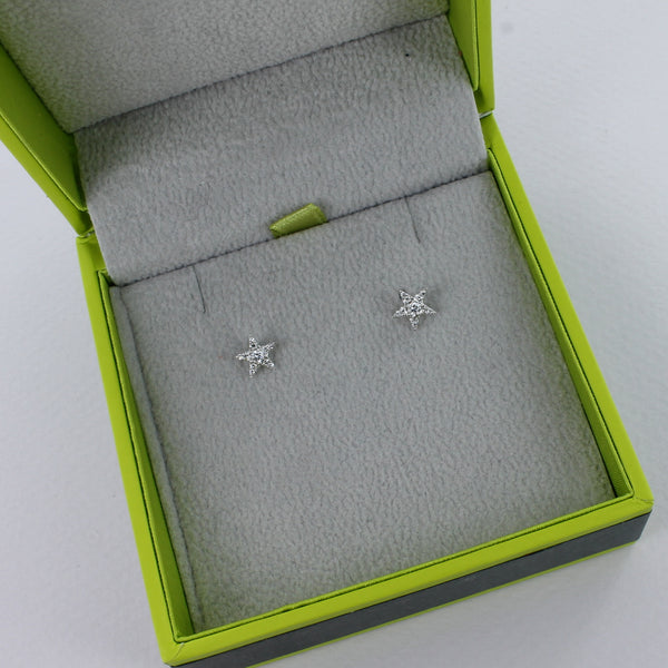 14K Rose Gold and Diamond Star Earrings
