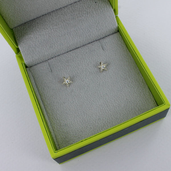 14K Yellow Gold and Diamond Star Stud Earrings