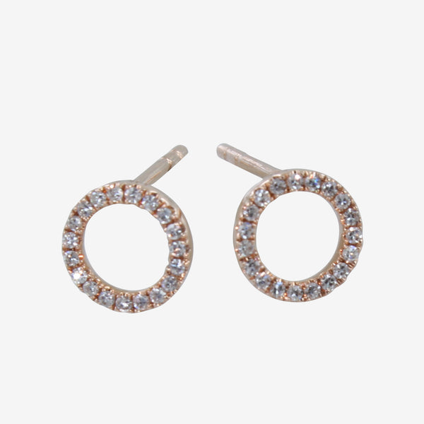 Diamond Open Ring Stud Earrings