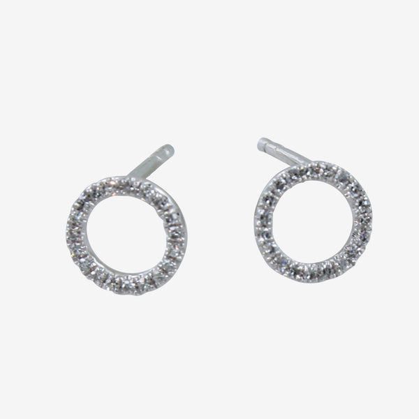 Diamond Open Round Stud Earrings