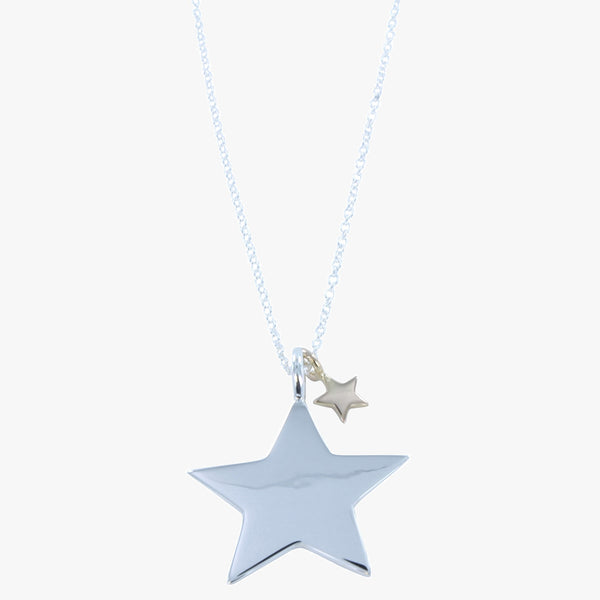 Sterling silver high shine star with smaller 18ct gold vermeil star on a silver chain