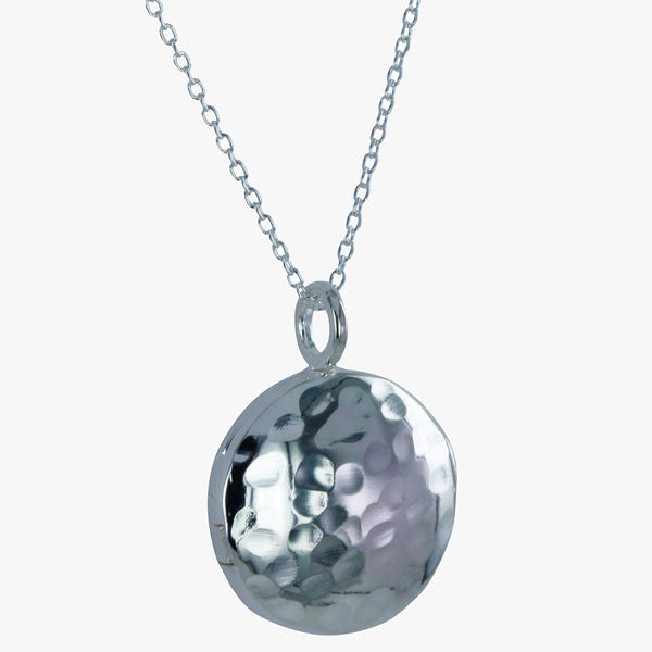 Sterling silver hammered locket on a silver chain