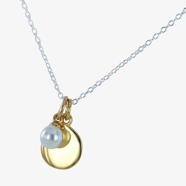 Disc and Pearl Charm Necklace