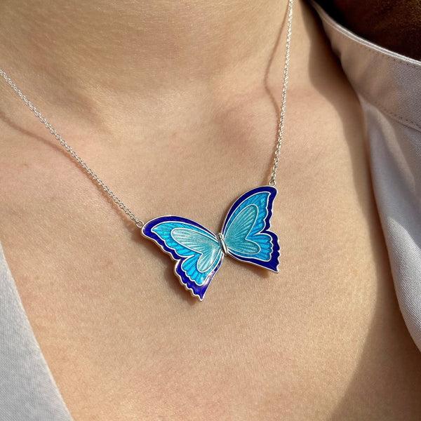Large Enamel Butterfly Necklace