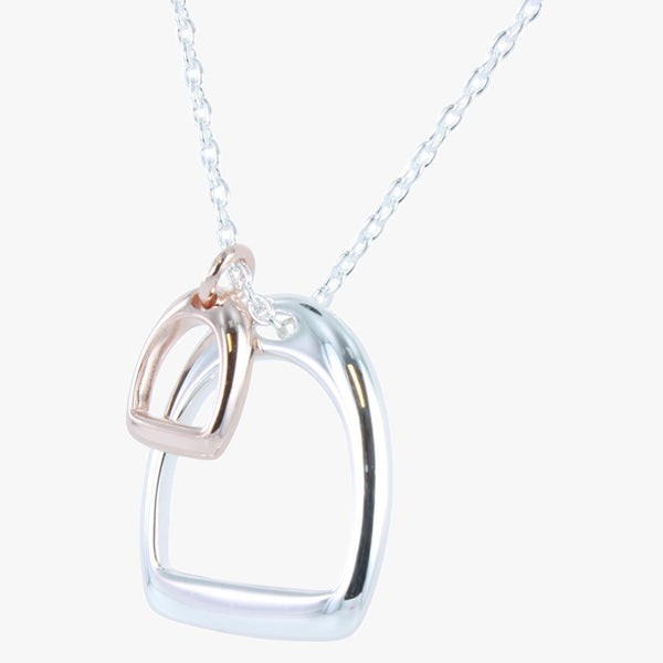 Sterling silver stirrup necklace with 18ct rose gold vermeil smaller stirrup on a silver chain