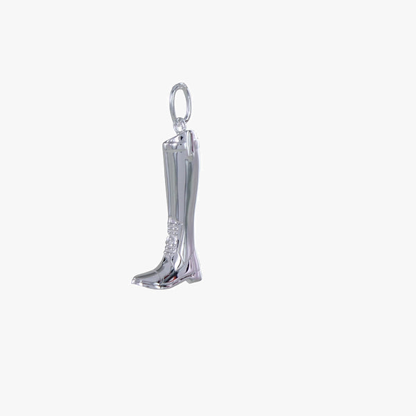 Large Riding Boot Sterling Silver Charm