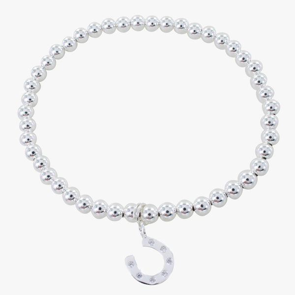 Beaded Silver Bracelet with Pavé Horseshoe Charm